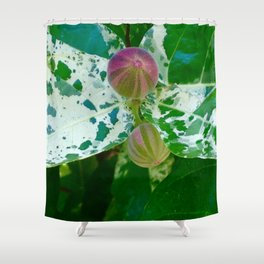 Patterned Leaves and Fruit Shower Curtain