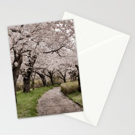 Row of cherry blossom trees Stationery Cards