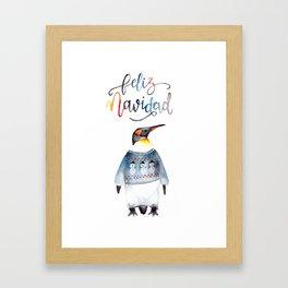 Pingu Feliz Navidad Framed Art Print