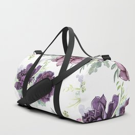 Succulents Deep Violet Lavender Pastel Green Lilac PatternSee Nature Magick for more pretty pastel c Duffle Bag