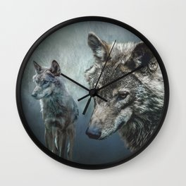 Wolves in moonlight Wall Clock