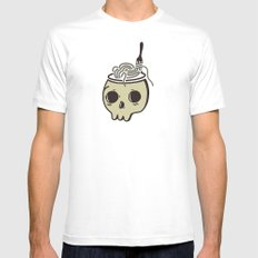 Quirky Indie Skull Mens Fitted Tee MEDIUM White