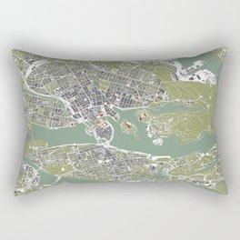 Stockholm city map engraving Rectangular Pillow