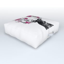 The Stag and Roses   Deer and Flowers   Pink   Outdoor Floor Cushion