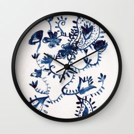blue delft floral Wall Clock