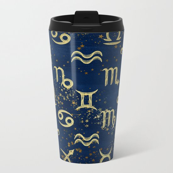 Twelve Zodiac Signs Horoscope Pattern Metal Travel Mug