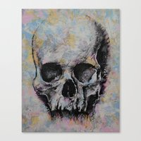 medieval Canvas Prints featuring Medieval Skull by Michael Creese