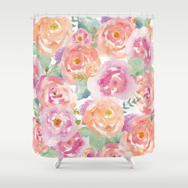 Water Colour Flowers Shower Curtain