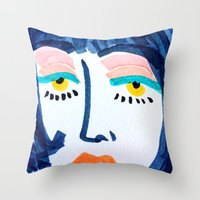 mod Throw Pillows featuring Mod Girl by Bouffants and Broken Hearts