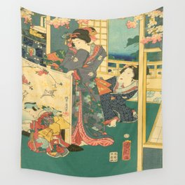 Spring Outing In A Villa Diptych #2 by Toyohara Kunichika Wall Tapestry