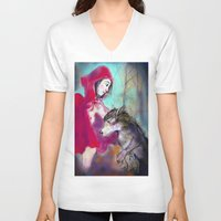 red hood V-neck T-shirts featuring red hood by AliluLera