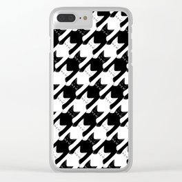 cats-tooth in black and white (houndstooth pattern) Clear iPhone Case