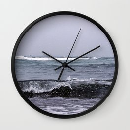 Snowing on the Waves Wall Clock