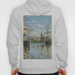 Classic Art - Ships Riding on the Seine at Rouen - Claude Monet Hoody