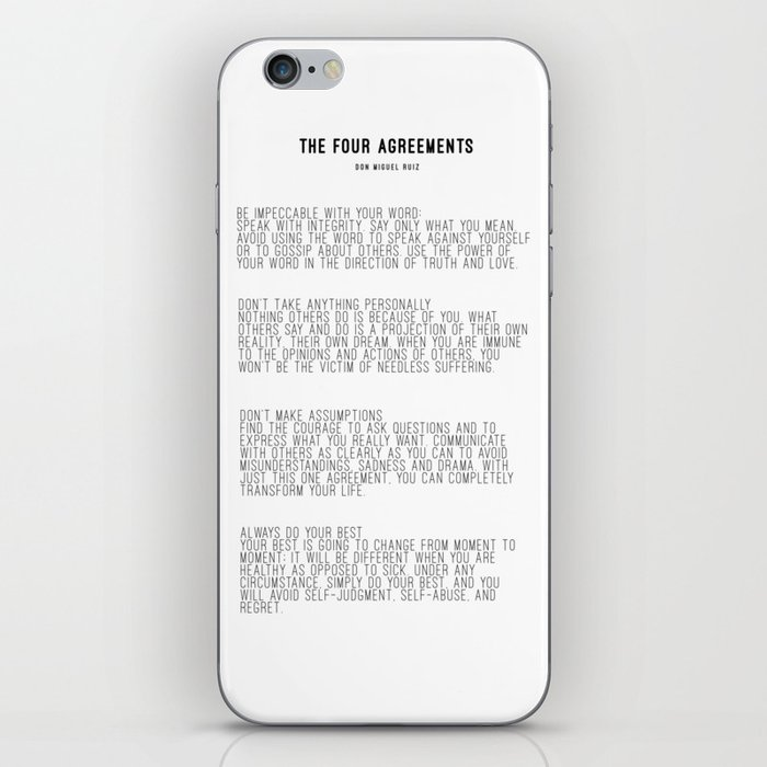 The Four Agreements Bw Minimalism Iphone Skin By Andreaanderegg