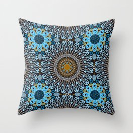 Calligraphic Boho (Blue) Throw Pillow