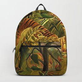 Tiger in a Tropical Storm - Surprised! by Henri Rousseau Backpack