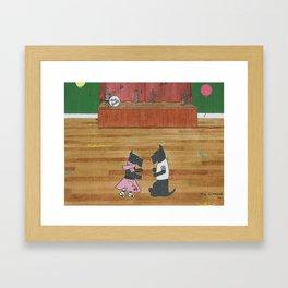 At the Hop-Scotch - Scotties - Scottish Terriers Framed Art Print