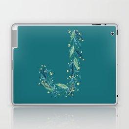 Turquoise flowers alphabet J Laptop & iPad Skin