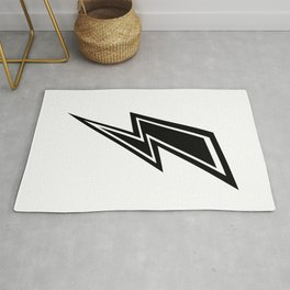 Lightning - Black and White Rug