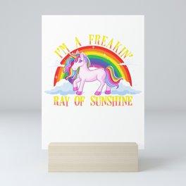 Funny I'm A Freakin' Ray Of Sunshine Unicorn Mini Art Print
