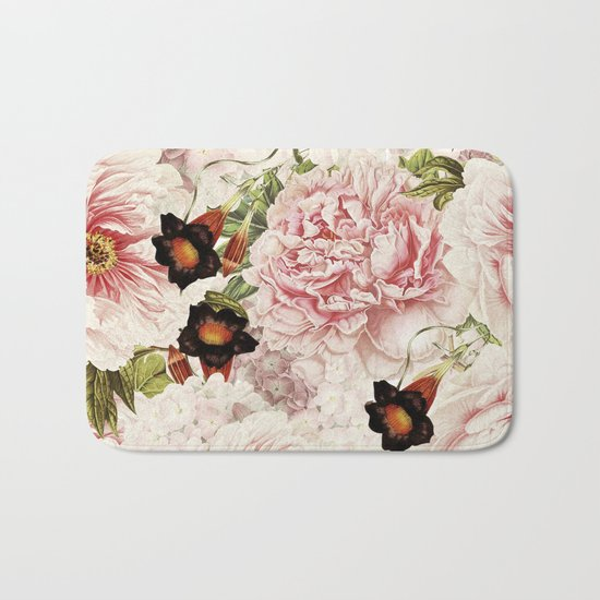 Vintage Peony and Ipomea Pattern - Smelling Dreams by #UtART Bath Mat