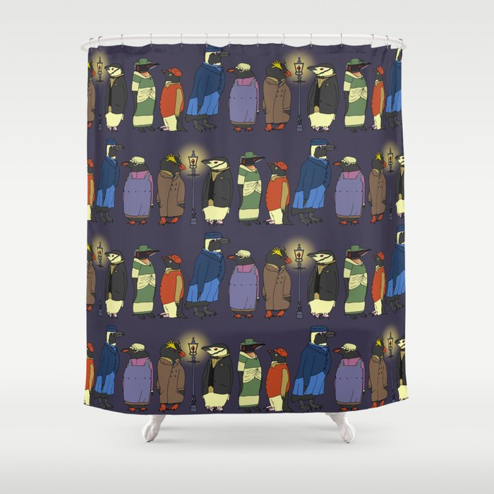 Victorian Penguins Shower Curtain