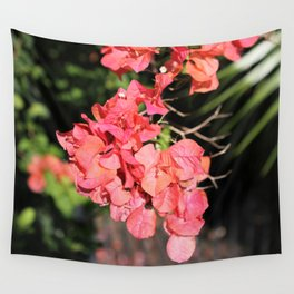 Hot Coral Floral Wall Tapestry