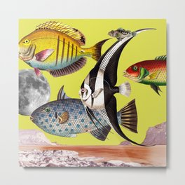 Fish World yellow Metal Print
