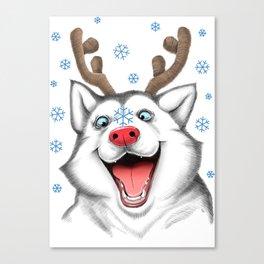 Husky Rudolph Canvas Print