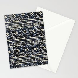 African Tribal Blockprint // Navy & Eggshell Stationery Cards