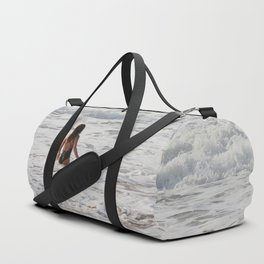 Breaking wave and girl Duffle Bag
