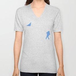 Little Girl with a Kite in Sky Blue Unisex V-Neck