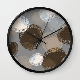 Seed Pods Neutral Color Graphic Pattern Wall Clock