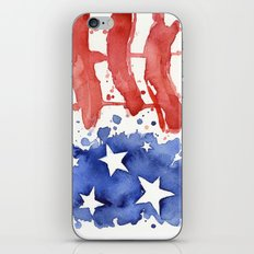 American Flag Watercolor Abstract Stars and Stripes iPhone & iPod Skin