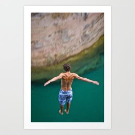Cliff Jumping Art Print
