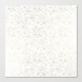 Elegant simple modern faux gold white floral Canvas Print