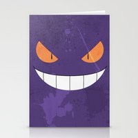 gengar Stationery Cards featuring Minimalist Gengar by Karl Gookey