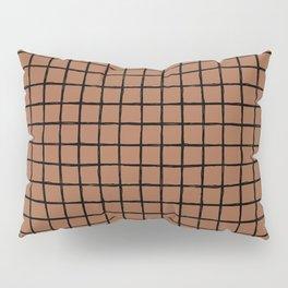 Geometric raster minimal raw brush strokes grid pattern copper Pillow Sham
