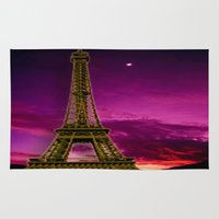 eiffel tower Area & Throw Rugs featuring Eiffel Tower  by Elena Indolfi