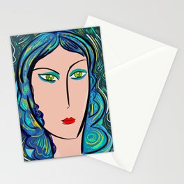 Pop Girl with green eyes and blue hair Stationery Cards