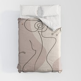 Set of naked woman sitting back one line. Poster cover. Minimal woman body. One line drawing. No 1/3 Comforters