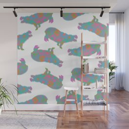 Around the World Hippo Wall Mural
