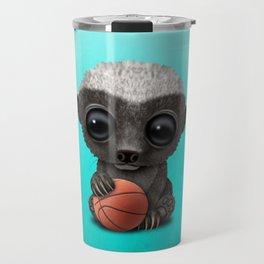 Baby Honey Badger Playing With Basketball Travel Mug