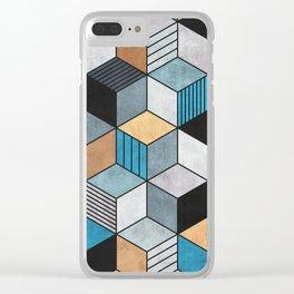 Colorful Concrete Cubes 2 - Blue, Grey, Brown Clear iPhone Case