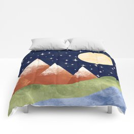 Full Moon In The Mountains Comforters