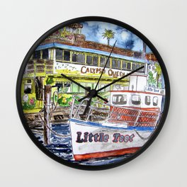 tug boat and beach hut Wall Clock