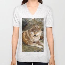 Wolf by the Riverbed Unisex V-Neck