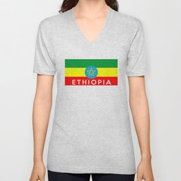 Ethiopia country flag name text Unisex V-Neck