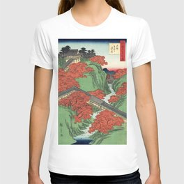 Ukiyo-e print Japanese Tōfukuji Temple and Tsūten Bridge T-shirt